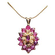 14K Yellow Gold & Rubies Necklace