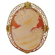Shell Cameo Pin in Gold Filled Frame