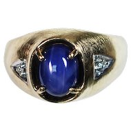 10K Yellow Gold Ring with a Linde Star Lab Grown Sapphire