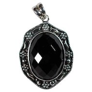 Sterling and Black Glass Pendant