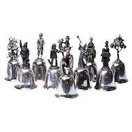 Ten Danbury Mint Silver Plated Bells  .. Christmas Motifs