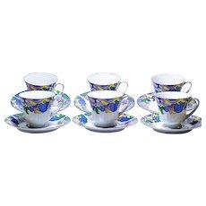 Set of Six Noritake Cups & Saucers in Fantasy Pattern