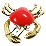 18K & Red Coral Custom Made Crab Pin w/ Diamond Eyes