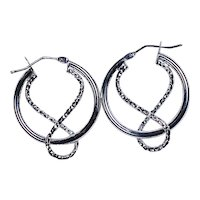14K White Gold Rope Design Earrings