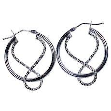 14K White Gold Rope Design Earrings