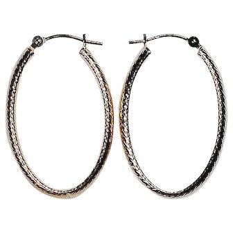 14K Yellow Gold Oval Earrings
