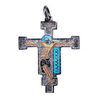 Enamel Religious Medal .. Jesus on the Cross