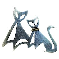 Sterling Silver Pin of Two Cats