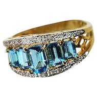 14K Yellow Gold and Crystal Ring