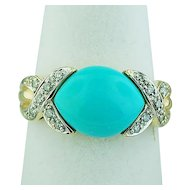 14K Yellow Gold Turquoise and Diamonds Ring