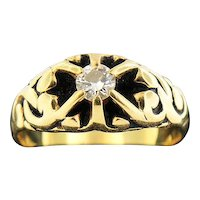 14K Yellow Gold .37ct Diamond Ring