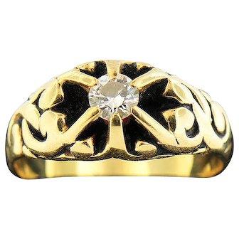 14K Yellow Gold .37ct Diamond Ring