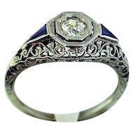 14K White Gold Diamond Filigree Ring
