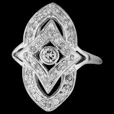 14K White Gold & Diamonds Dainty Ring