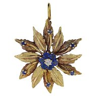 14K Yellow Gold Pin-Pendant w/ Sapphires and Diamond