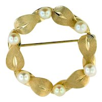Van Dell Gold Filled Pin w/ Cultured Pearls