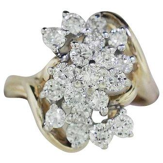14K Yellow Gold Diamond Cocktail Ring