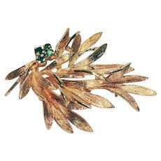 14K Yellow Gold and Emerald Pin