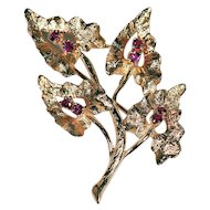 14K Yellow Gold Pin with Rubies