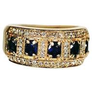 Yellow 14K Sapphire and Diamond Ring