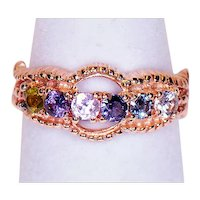 10K Yellow Gold Ring with Six Multi-Colored Stones