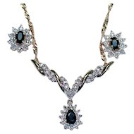 10K and 14K Sapphire and Diamond Necklace & Earrings Set