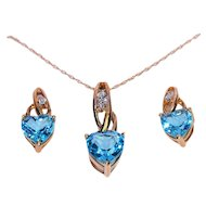 10K Gold Blue Topaz Necklace and Earrings Set