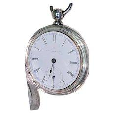 Elgin Pocket Watch  18s  Coin Silver Case   Key Wind