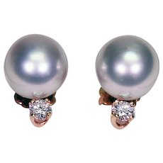Pair of 14Kt Yellow Gold Earrings with 10.60mm Cultured Pearls and Diamonds