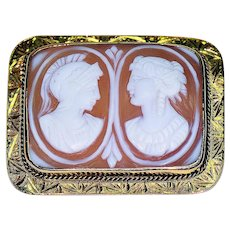 Double Bust Shell Cameo in 10K Yellow Gold Frame