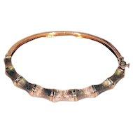 14K Yellow Gold Bracelet / Bangle in Bamboo Motif