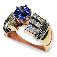 14K Yellow Gold Ring with Tanzanite & Diamonds