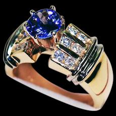 14K Yellow Gold Ring with Tanzanite & Diamonds