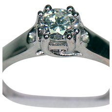 Great .47 carat Diamond Solitaire Engagement Ring in White Gold