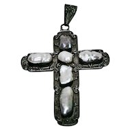 Sterling Cross w/ Pearls