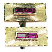 Pair of 14K Yellow Gold Lab Ruby Cufflinks