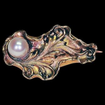 18K Brooch w/Pearl in Organic Oyster Motif