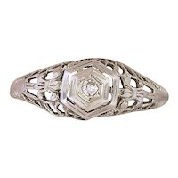 14K White Gold Filigree Ring w/ Small Diamond