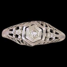 14K White Gold Filigree Ring w/ Small Diamond
