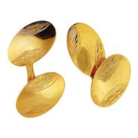 Pair of 18K Yellow Gold Cuff Links