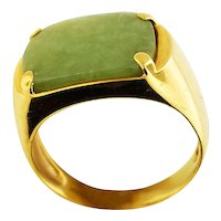 14K Yellow Gold Jadeite Ring