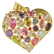 Multi-Gemstones 14K Yellow Gold Pendant