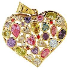 Multi-Gemstones 14K Yellow Gold Pendant