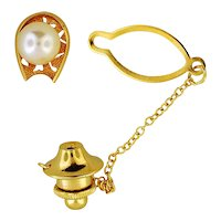 18K Yellow Gold Tie Tack with Cultured Pearl