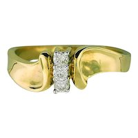 14K Yellow Gold Three Diamonds Ring