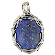 Lapis Lazuli and Sterling Pendant w/ Necklace Attachment Bail