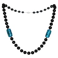 Black Onyx Necklace with Dichroic Glass Accents