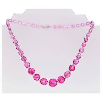1930's Faceted Cranberry Crystal Necklace