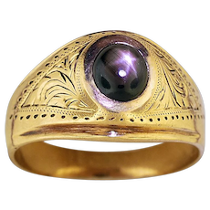 14K Yellow Gold Ring with a Black Star Sapphire