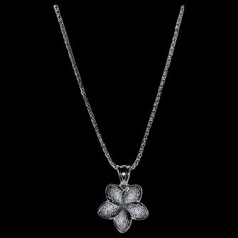 14K White Gold Necklace w/ Star Pendant